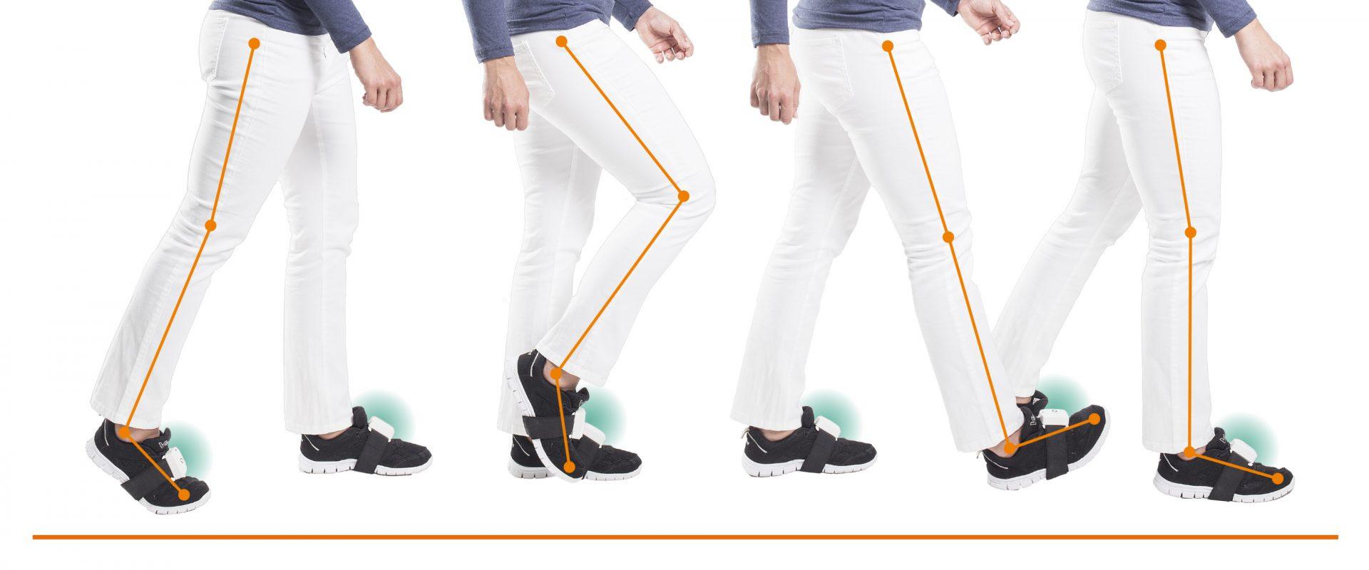 PABLO sensors Anwendungsbeispiel an den Beinen, Ganganalyse