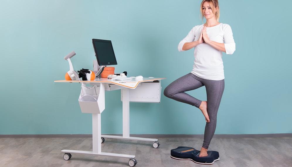 TYMO Anwendung Balancetraining auf einem Bein, Pablo System